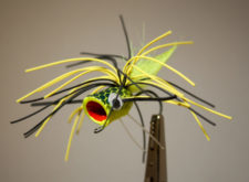 Pultz Bass Popper #1 chartreuse, black, chartreuse with weed guard 1/0