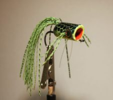 Pultz Bass Popper #1 Chartreuse over Black with weed guard to image #2686.