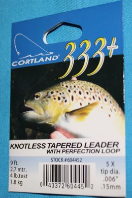 Cortland 333 Knotless Tapered Leader 5 X with loop  9 ft