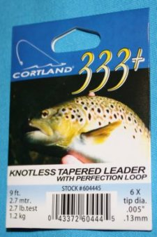 Cortland 333 Knotless Tapered Leader 6 X with loop  9 ft
