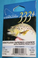 Cortland 333 Knotless Tapered Leader 7 X with loop  9 ft