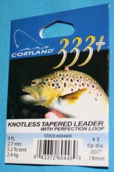 Cortland 333 Knotless Tapered Leader 4 X with loop  9 ft