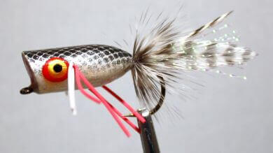 Pultz Mini Bass Popper Black over Silver