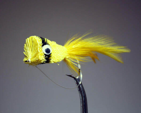 Hair Bug Frog yellow and black with weed guard