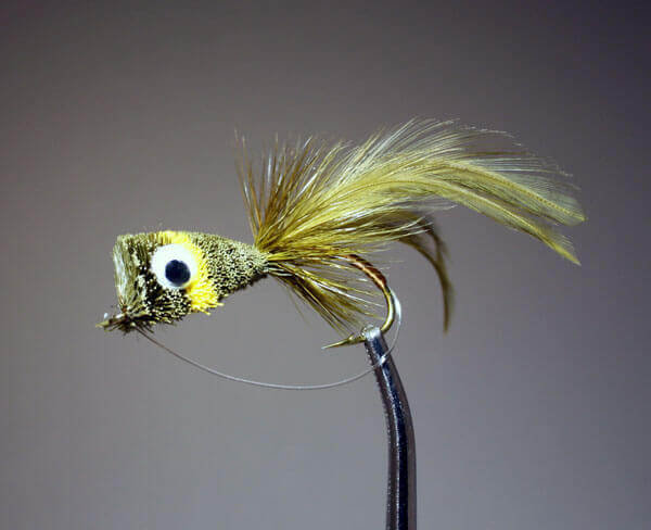 Hair Bug Frog olive and yellow with weed guard.