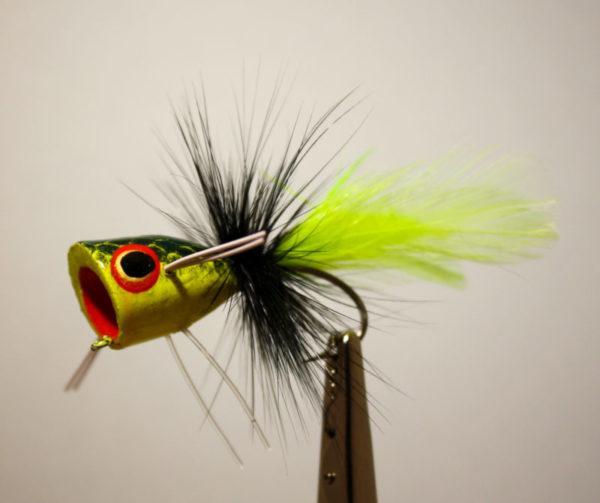 """Pultz Bass Popper Wide Gap Stinger Chartreuse, Black, Chartreuse 1/0."