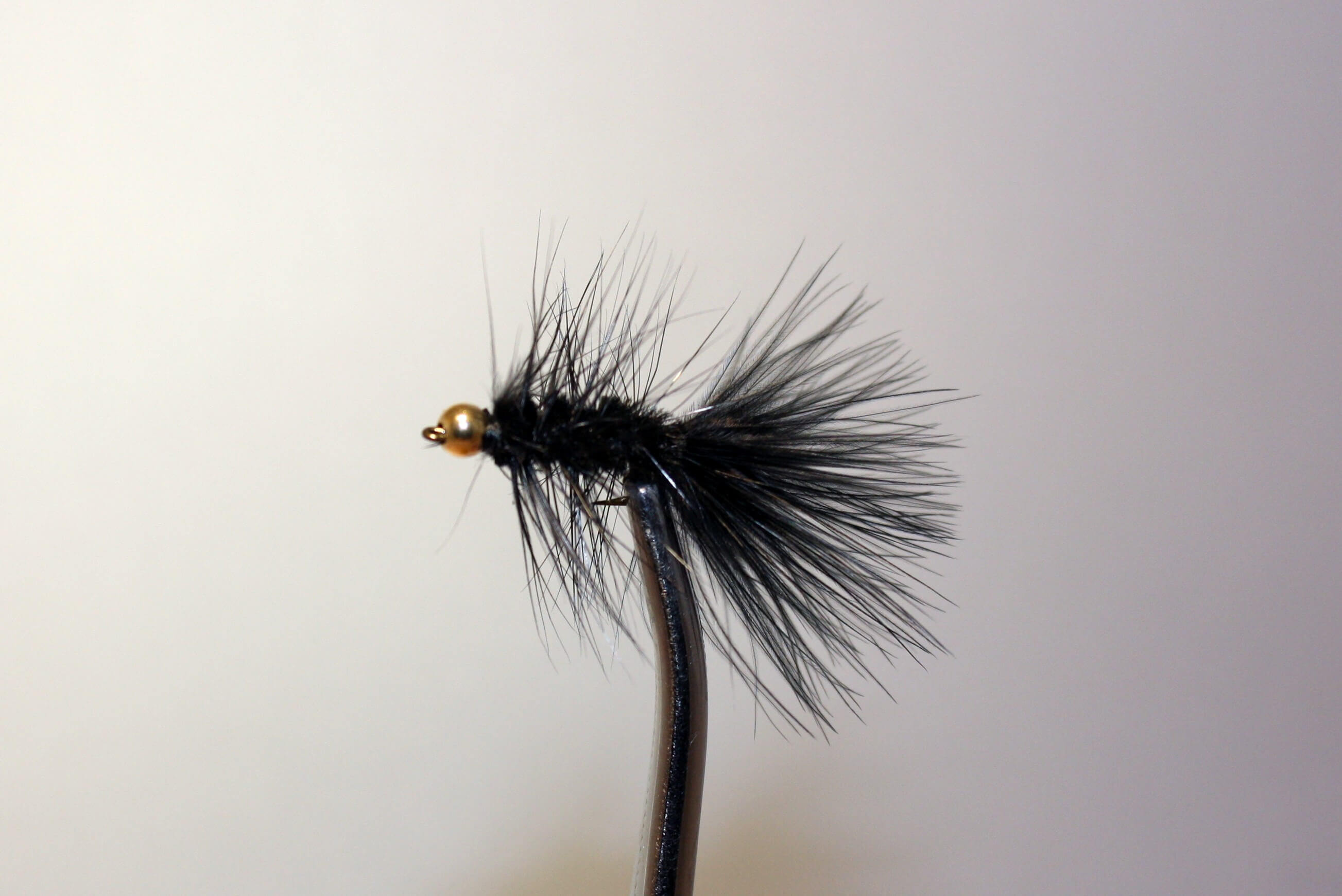 Woolly Bugger Black with Gold Bead Eyes