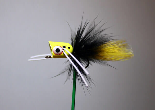 Peck's Hot Yellow, Black, Yellow Popper #6 Hook by Pultz.