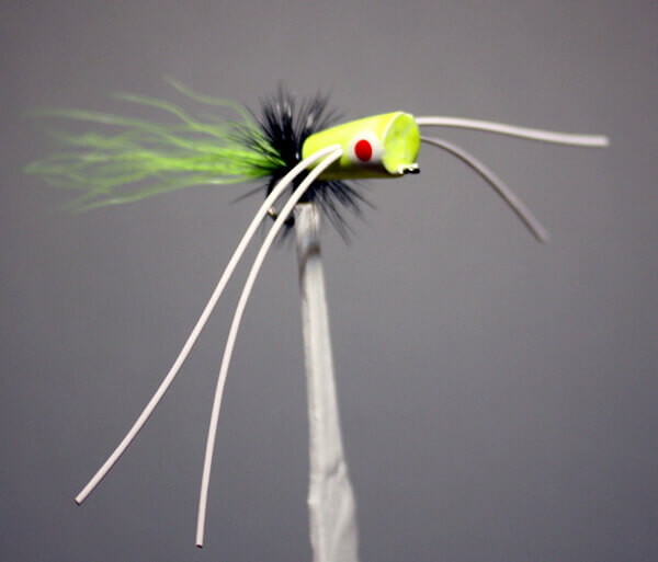 Willow Bug with a chartreuse body, black hackle, chartreuse tail and white rubber legs