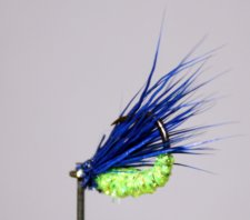Tiny Muddler Chartreuse and Indigo Blue