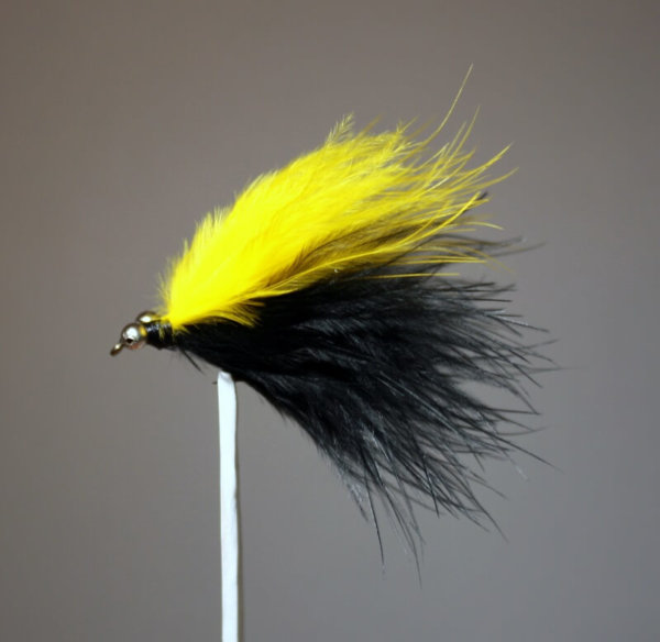Marabou Skunk Yellow and Black with Long Streamers (2 inches)