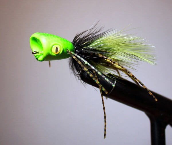 Double Barrel Bass Poppers Green Black Chartreuse