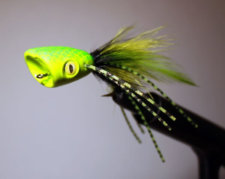 Double Barrel Bass Poppers Green Black Yellow