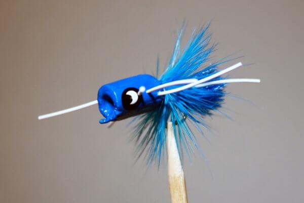 Bea's Popper #16 Blue Body Blue Hackle White Legs Bream Bugs