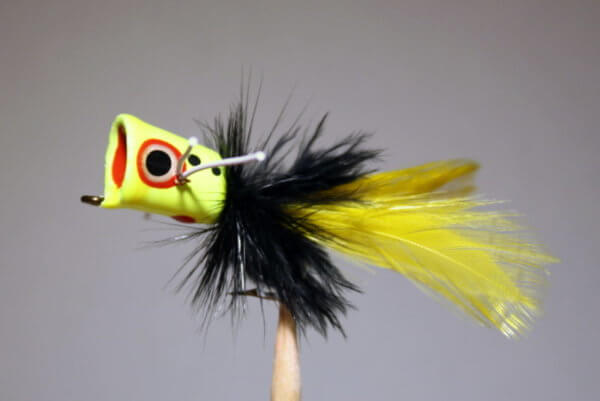 Hot Yellow, Black, Yellow Peck's Popper by Pultz.