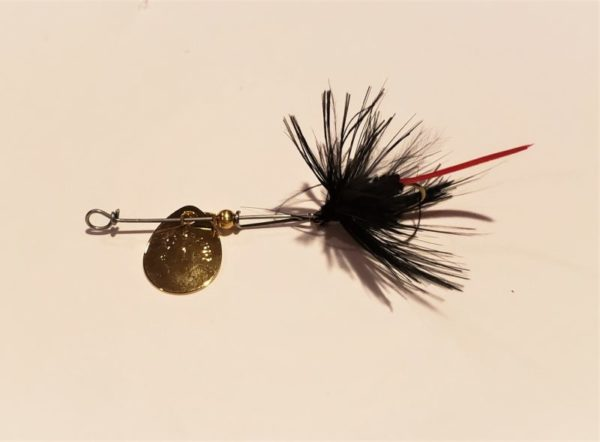 black gnat with a red tail feather attached to a Hildebrandt Gold Spinner.
